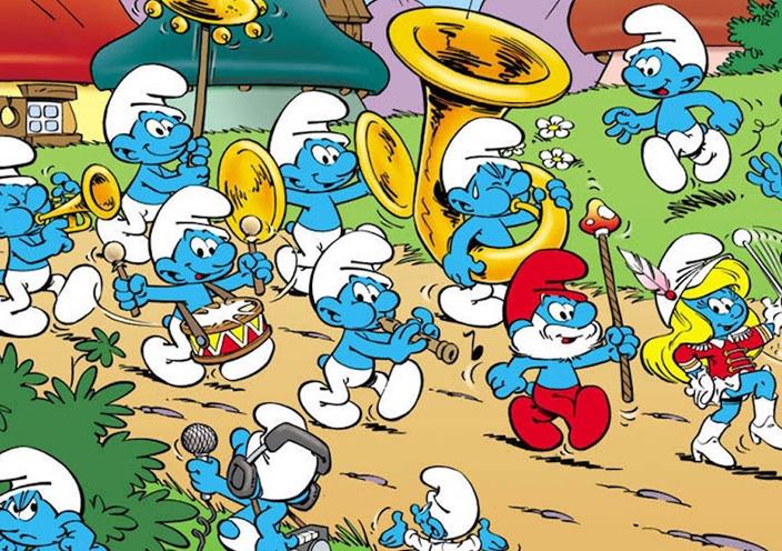 Os Smurfs, inúmeros falsetes entregues a poucos dubladores.